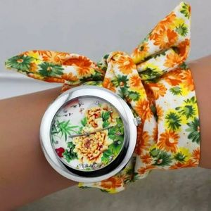 Floral bandana cloth wrist watch yellow & orange